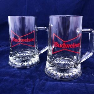Two Budweiser Glass Beer Glasses